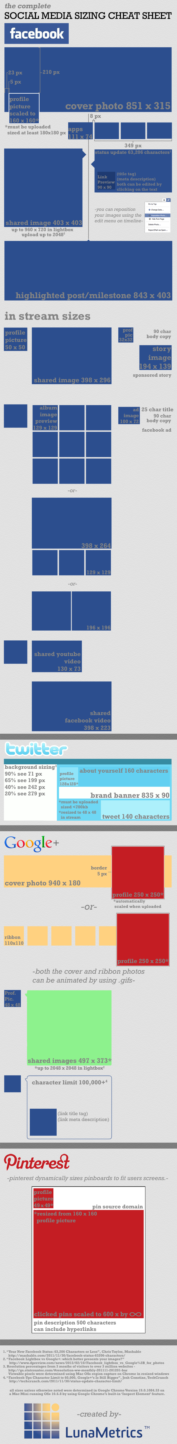 social media sizing infographic