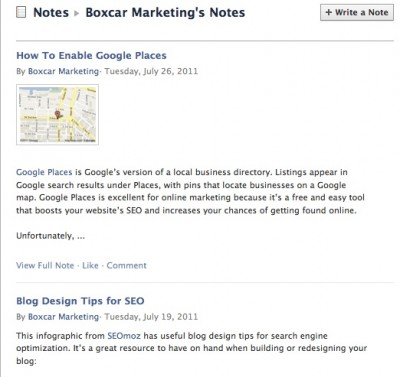 Boxcar Marketing's Facebook Notes