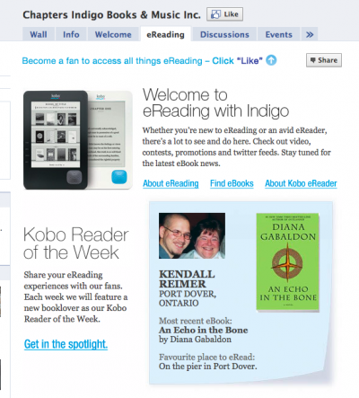 Tools We Like: Chapters Indigo's eReading Facebook App