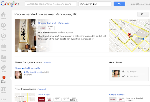 Google Plus Local search page
